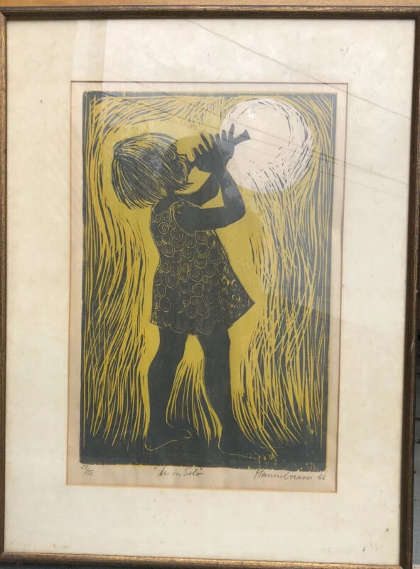 """Original Signed And Numbered 27/50 Print """"Moon Solo"""" Hanne Greaver 1966"""