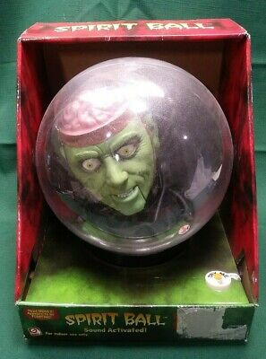 "Gemmy Halloween 14"" Spirit Crystal Ball Animated Green Brain Monster New In Box"