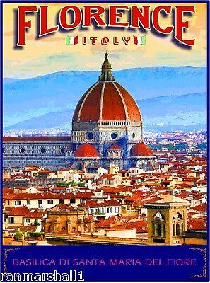 Florence Italy Basilica di Santa Maria del Fiore Travel Advertisement Poster