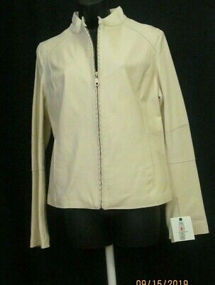 Womens Leather Jacket WILSONS LEATHER Stand Up Collar Ivory Zip Up Size Large