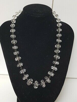 1930s Art Deco Style Jewelry Vintage 1930's Art Deco Old Rondel Cut Faceted Rock Crystal Bead Necklace 42 cm $53.38 AT vintagedancer.com