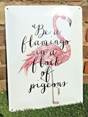Flamingo Pigeon Large Sign Wall Art Hanging Plaque Shed Gate Metal Gift Quote