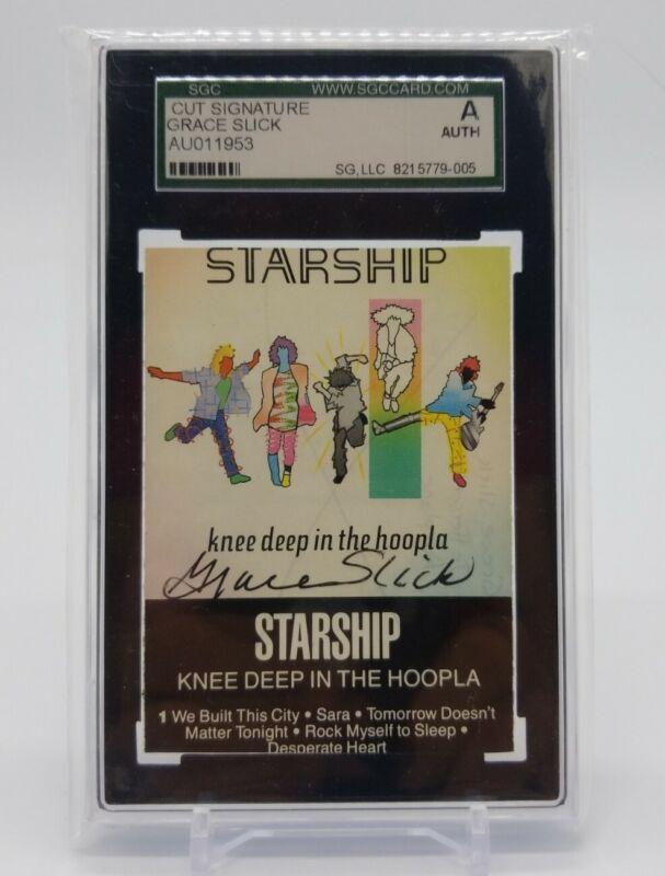 Grace Slick Jefferson Airplane Singer Cut Auto Cassette Cover Signed SGC Slab