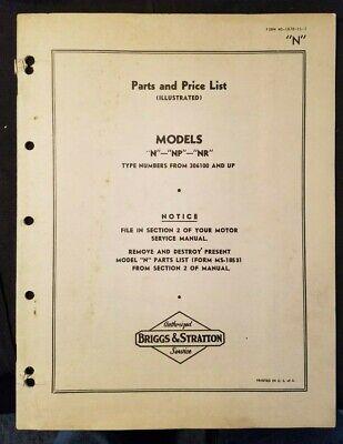 Briggs Stratton Model N Operating Manual Parts List Circa 1947 Lllustrated