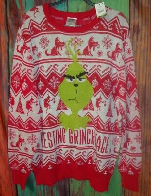 NWT Red White THE GRINCH Mens 2XL Christmas Sweater