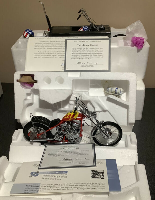 Franklin Mint Easy Rider Captain America Ultimate Chopper & Billy Bike with COA