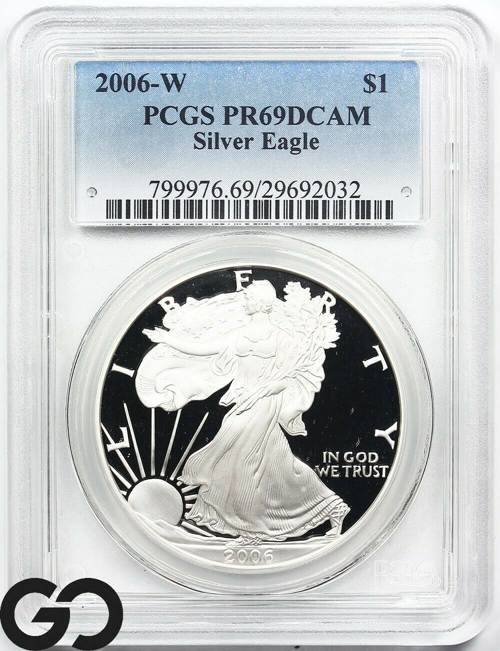 1989-S American Silver Eagle Dollar PR69DCAM PCGS Proof 69 Deep Cameo