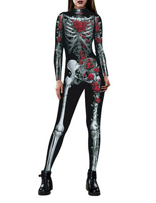 Womens Skeleton Costume, 3D Printed Halloween Cosplay Jumpsuit Bodysuit