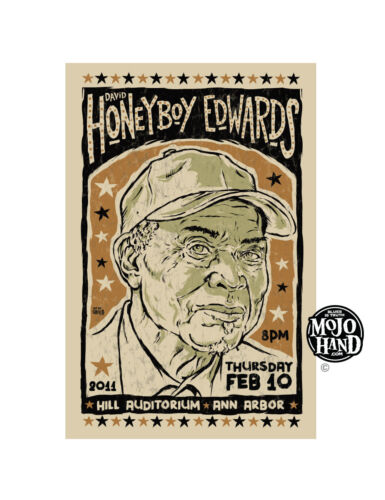Original Honeyboy Edwards Blues concert poster from Mojohand - free US Shipping!