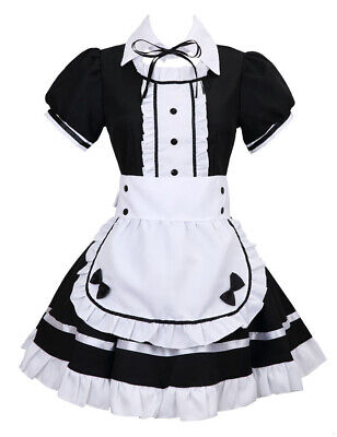 Womens Anime Cosplay French Maid Costume with Apron, 5 PCS Halloween Fancy Dress