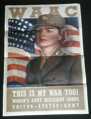 1943 WW2 USA AMERICA WOMEN WAAC ARMY AUXILIARY CORPS UNIFORM PROPAGANDA POSTER for sale  Shipping to United States
