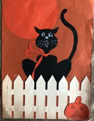 LG Vintage Artist Made Collage Halloween Howling Cat Fence Moon Paper Decoration