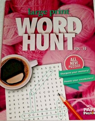 LARGE PRINT PUZZLE BOOK, SEARCH A WORD, FIND A WORD, WORD HUNT