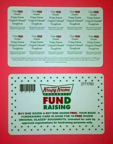 KRISPY KREME Fundraising BOGO Cards **BUY 1 & GET1 Dozen** 10 OFFERS PER CARD *