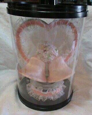 Vintage 1970's Heart Pink Satin Bells Tulle Lace Leon Bush Wedding Cake Topper
