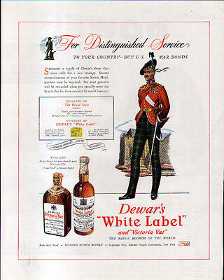 1943 DEWAR'S WHITE LABEL & FOOTE BROS. AD- POWER -- THE ROYAL SCOTS-
