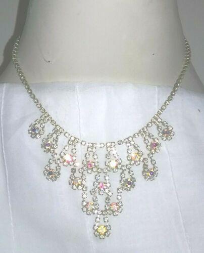 Vintage Rhinestone Cascading Aurora Borealis Crystal Bib Chandelier Necklace
