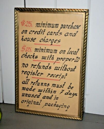 ANTIQUE BRASS TRADE SIGN, Store Display, VTG Picture Frame, Mercantile RARE #2