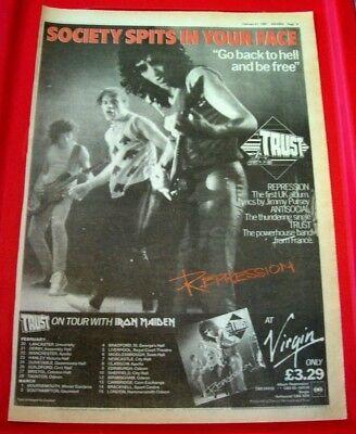 Trust Repression/UK Tour Vintage ORIGINAL 1981 Press/Magazine ADVERT Poster-Size