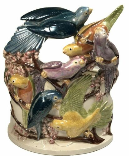 VTG Parrot Parakeet Bird TV LAMP Holland Mold Ceramic Bird Sculpture REPAIRED