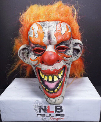 2009 Paper Magic Group PMG EVIL CLOWN FACE with Orange Hair Halloween Mask - Clown Mask With Orange Hair