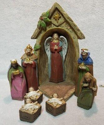 4.18.26) Nativity scene 9 piece (incomplete) no Mary + extra Jesus nesting  - Nesting Nativity Scene