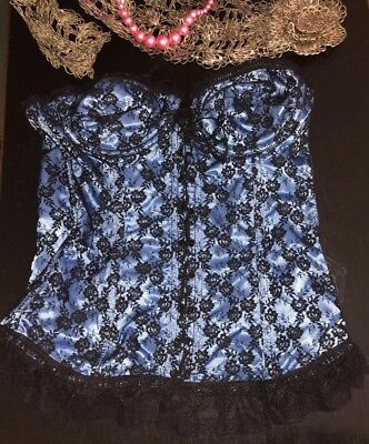 Nylon Satin-bustier (Vintage Saloon Blue Satin Bustier Lace Corset Underwire Lingerie Crop Top Bra 36)