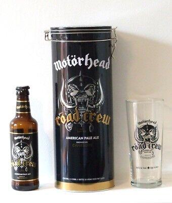 MOTORHEAD Road Crew Cameron pale ale gift tin, pint beer glass & bottle (empty)