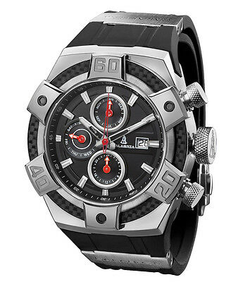 CALABRIA - ARMATO - Black Chronograph Men Watch with Carbon Fiber Bezel