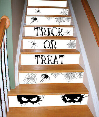 Spooky Black Watch Your Step Home Halloween Party Decoration Stair Stickers-K