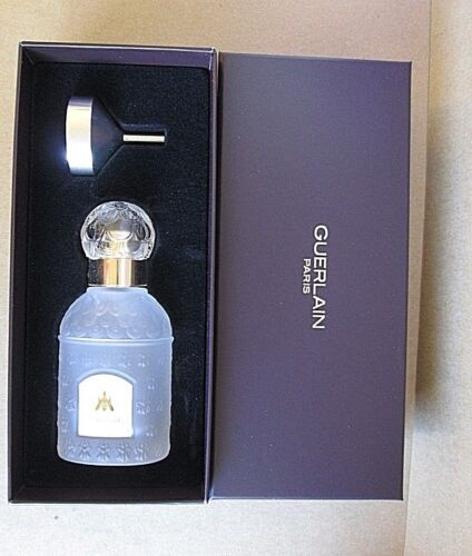 GUERLAIN TRAVEL GLASS BEE BOTTLE ATOMIZER WITH FUNNEL NEW IN BOX EMPTY VERY RARE