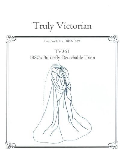 Truly Victorian sewing pattern for a Butterfly Detachable Train TV361 all sizes