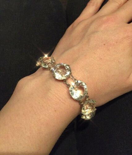 Very Beautiful! Art Deco Huge Diamond Paste Sterling Silver Glittering Bracelet