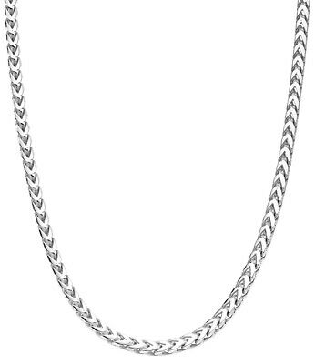 Solid Sterling Silver Franco Square Box Link Chain Necklace -