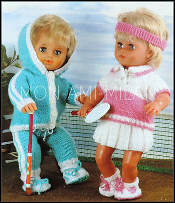 """Dolls Clothes, Knitting Pattern Copy, Tennis Outfits, Tracksuit Trainers 12-22"""""""