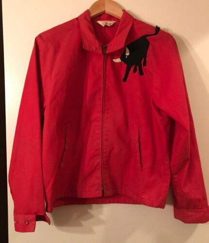 Vintage BSA Official Red Jacket-Cotton with Philmont Bull & Two Jamboree Patches