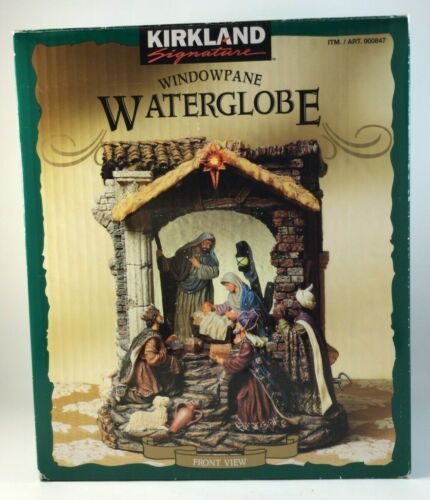 "Kirkland Nativity Musical ""Oh Holy Night"" Windowpane Waterglobe #900847 w/Box"