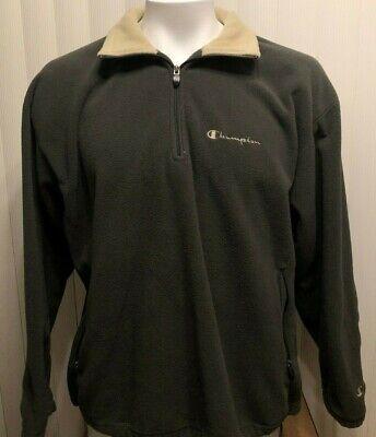 Vintage Men's Champion Spellout Logo Fleece 1/4 Zip Sweater Size Large 90's