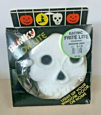 Vintage Blinky Skull Skeleton Blow Mold in Box Works Complete Halloween Decor