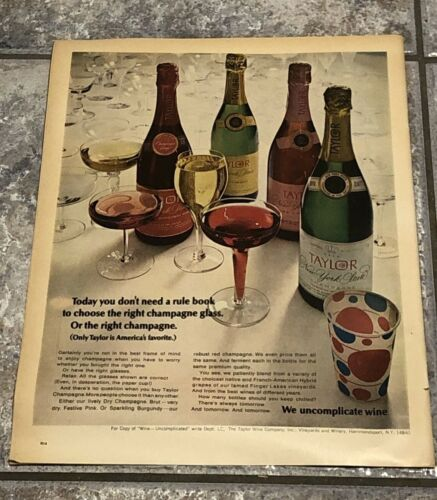 "Vintage 1967 Life Magazine Taylor Champagne Holiday Print Ad 10 1/2"" x 14"""