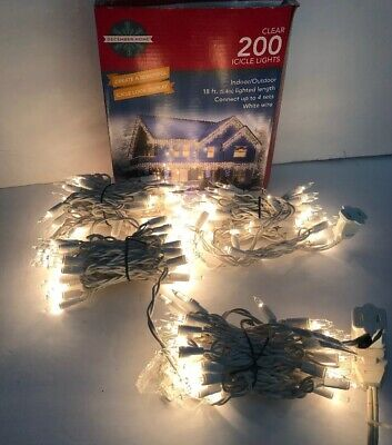 Clear 200 Icicle Lights 18ft. Indoor/Outdoor White Wire-RARE VINTAGE-Ships N 24H