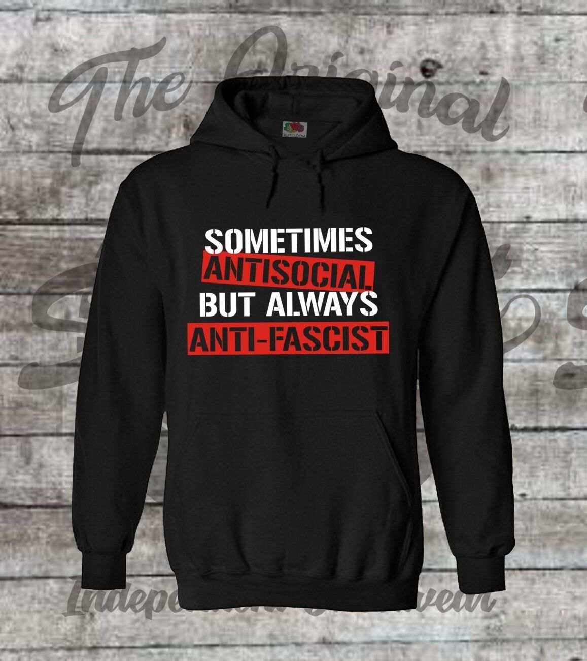 Sometimes Antisocial always Antifascist Hoodie schwarz