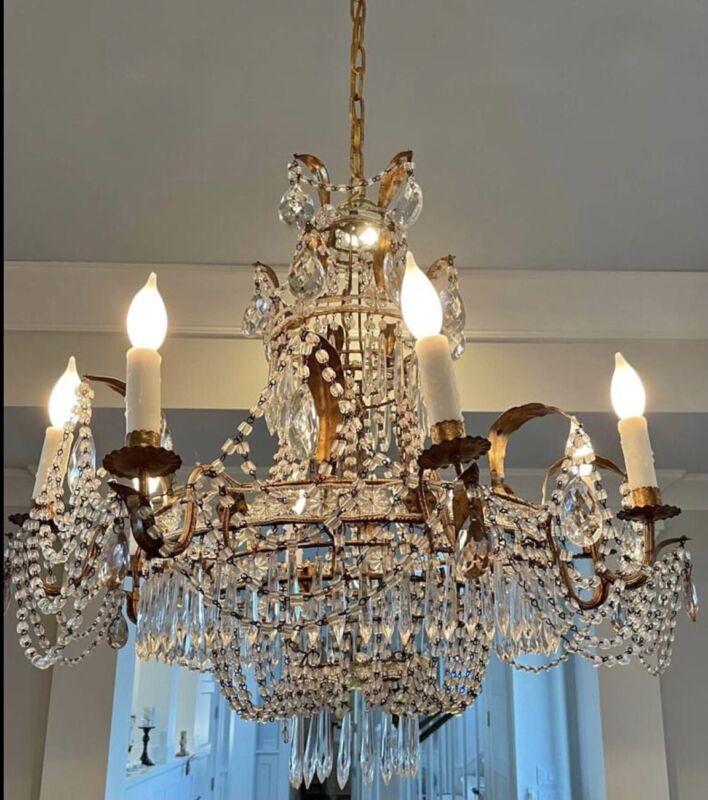Antique Italian French Empire Crystal Beaded Tole Basket Chandelier Lustre  A3