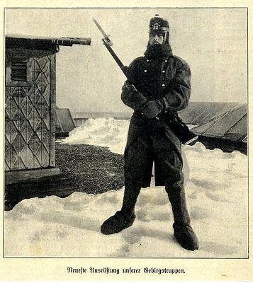 Neuste Ausrüstung unserer Gebirgstruppen (Schweiz) Historische Aufnahme von 1918