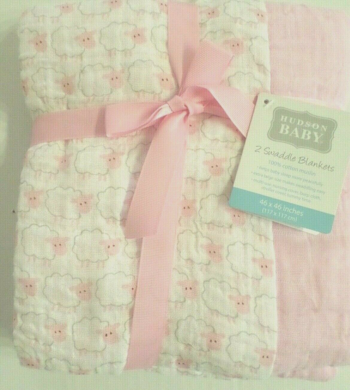 Hudson Baby Muslin Swaddle Blankets, 2 Pack, Pink