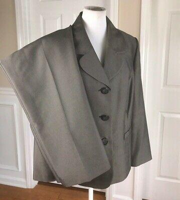 LE SUIT Women 2 PC Elegant Gray Pinstriped Pant Suit Size 16 W