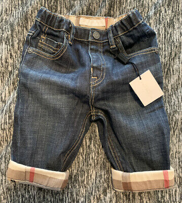 Burberry Baby Boys Blue Pierre Jeans With Classic Check Turn Ups Size 9 Months