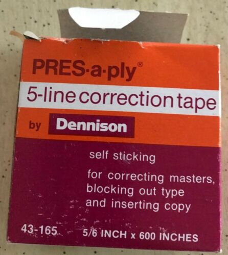 Dennison Self-Adhesive 5-line Correction Tape PRES-a-ply