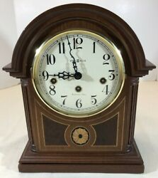 Beautiful Howard Miller Barrister Inlaid Mantle Clock 613-180 Westminster Chime