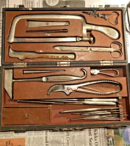 Turn Of The Century Surgical Set Autopsy Kit Leather Hard Case